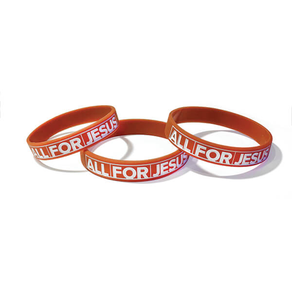 All for Jesus Silicone Wristband Sm Adult / Youth Pkg 10